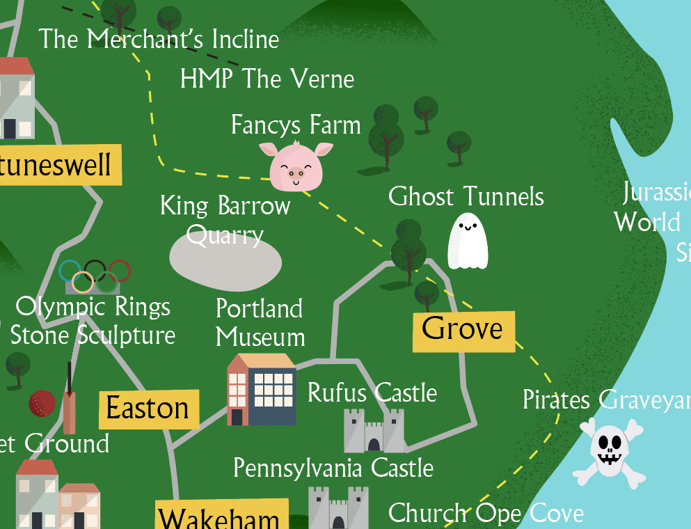 close up of illustrated map of Portland, Dorset